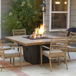French Barrel Oak Cosmo Gas Fire Pit Table - Dining