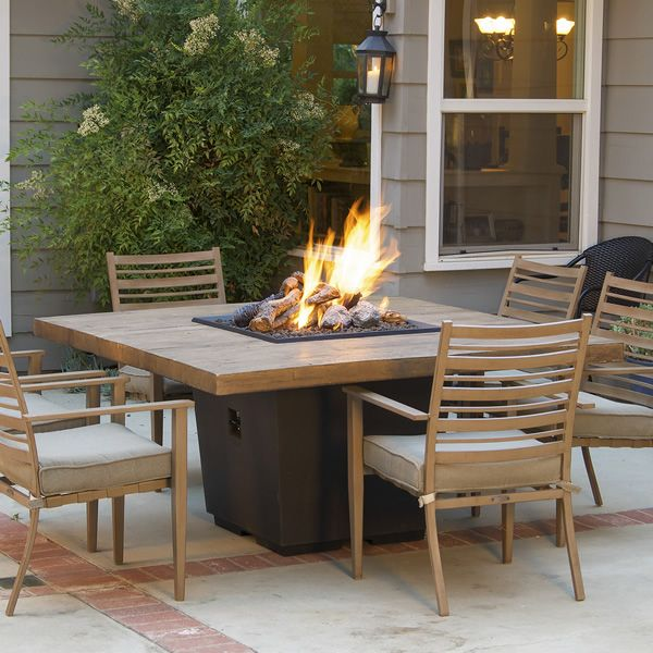 French Barrel Oak Cosmo Gas Fire Pit Table - Dining image number 0