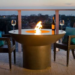 Lotus Gas Fire Pit Table with Polished Top - Dining Height