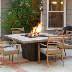 Silver Pine Cosmo Square Gas Fire Pit Table - Dinning Height