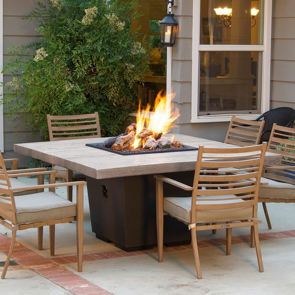 Silver Pine Cosmo Square Gas Fire Pit Table - Dinning Height image number 0