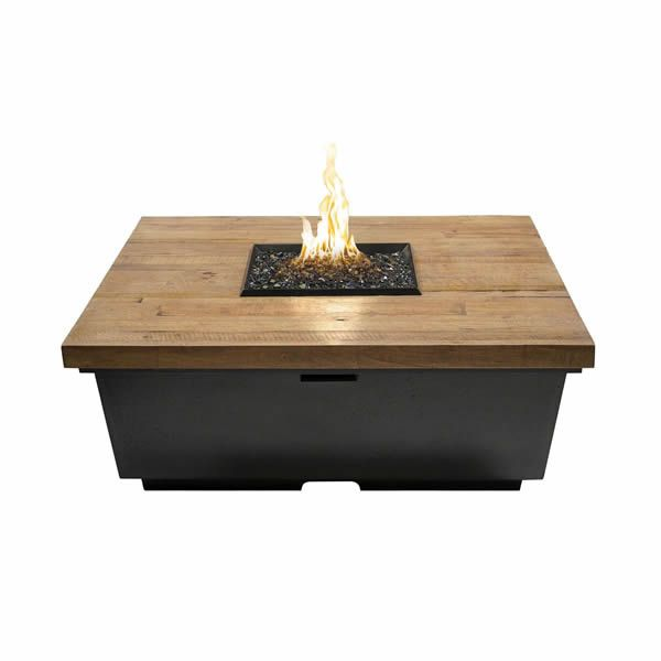 French Barrel Oak Contempo Gas Fire Pit Table - Square image number 0