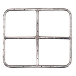Stainless Steel Natural Gas Rectangular Fire Ring - 18""