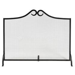 Single Panel Black Wrought Iron Fireplace Screen