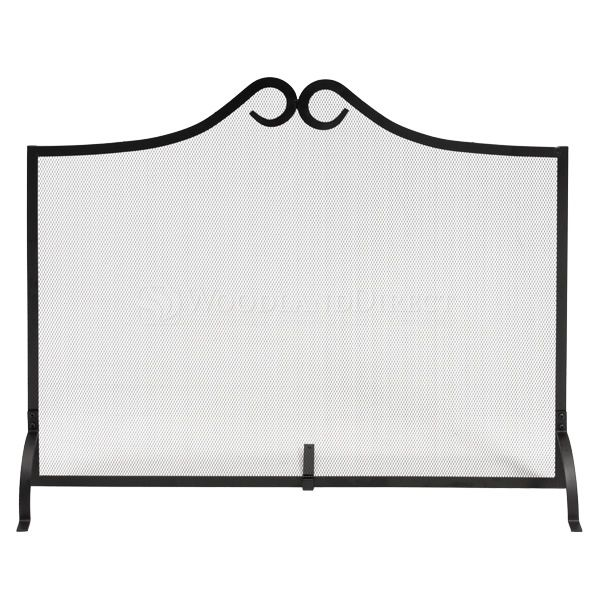 """1 - Panel Black Wrought Iron Fireplace Screen - 38"""" x 31"""" image number 0"""