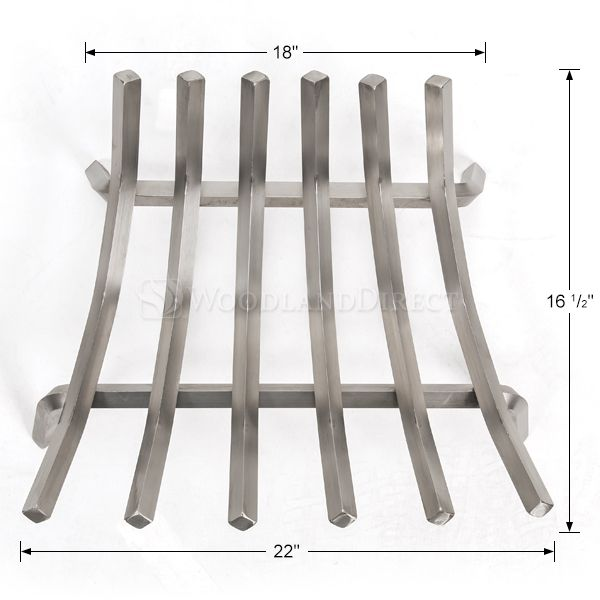 """Lumino Stainless Steel Contoured Lifetime Fireplace Grate - 22"""" image number 1"""