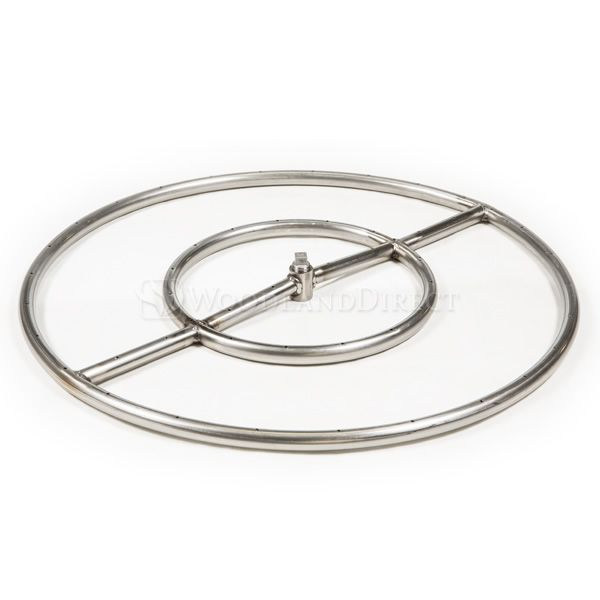 """Round Double Ring Stainless Steel Burner with 1/2"""" Hub - 24"""" image number 0"""