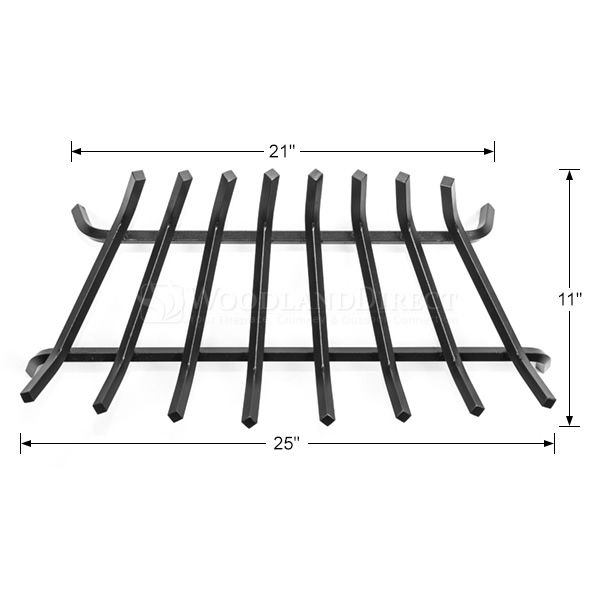 "Oxford 1/2"" Steel Zero Clearance Fireplace Grate - 25"" image number 1"