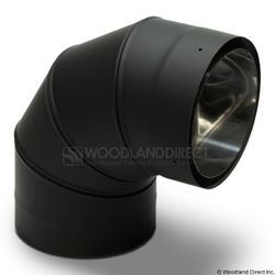 """6"""" Premium Double Wall Black Stove Pipe - 90º Fixed Elbow"""