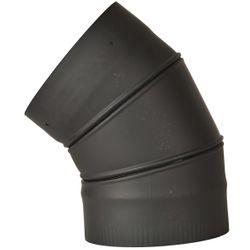 "6"" Premium Single Wall Black Stove Pipe-45º Adjustable Elbow"