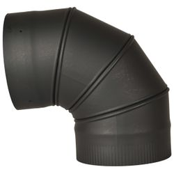 "8"" Premium Single Wall Black Stove Pipe-90º Adjustable Elbow"