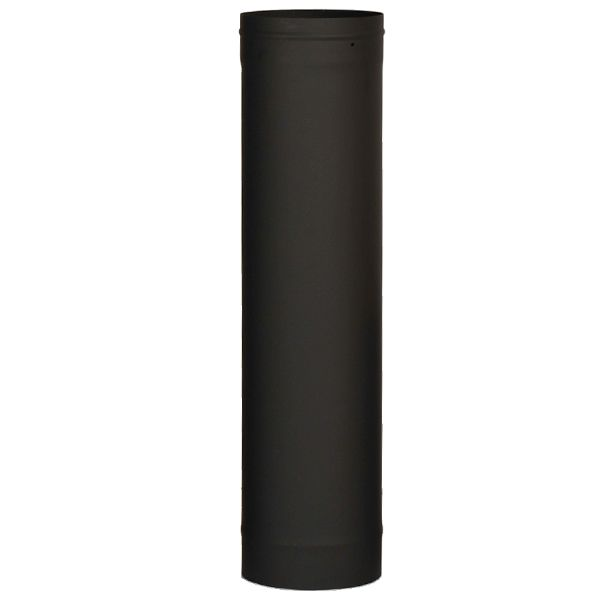"7"" Premium Single Wall Black Stove Pipe - 48"" length image number 0"