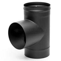 "6"" Premium Single Wall Black Stove Pipe Tee"