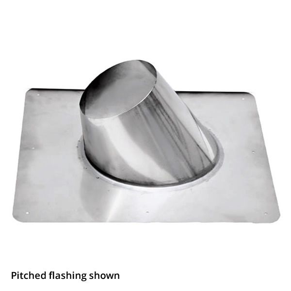 """4"""" Diameter Champion Stainless Steel Flat Roof Flashing for Pellet Pipe image number 0"""
