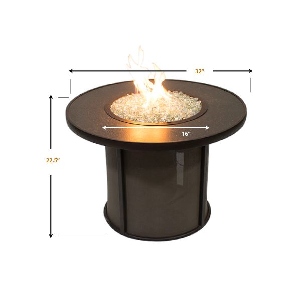 """Stonefire Round Crystal Gas Fire Pit Table - 32"""" image number 1"""