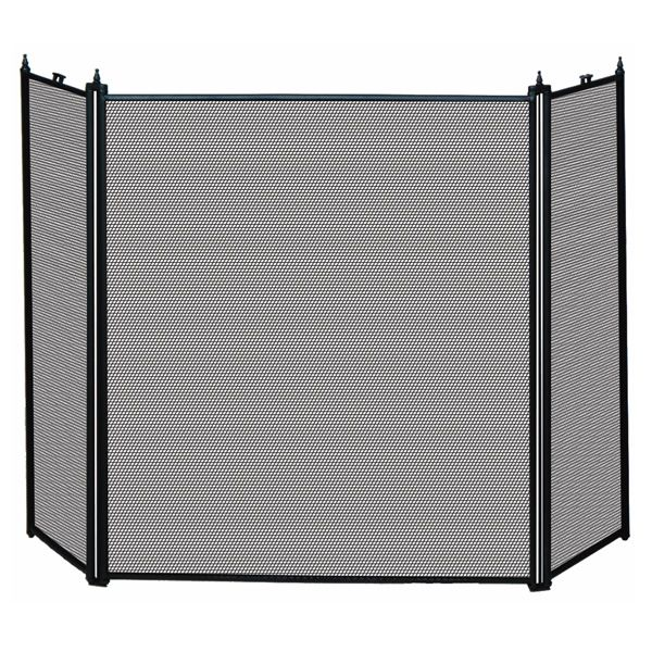 """3 Fold Black Fireplace Screen (S-1121) - 52"""" x 31"""" image number 0"""