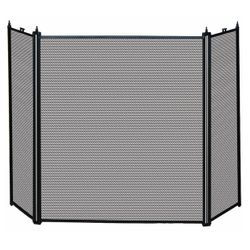 3 Fold Black Fireplace Screen (S-1121)