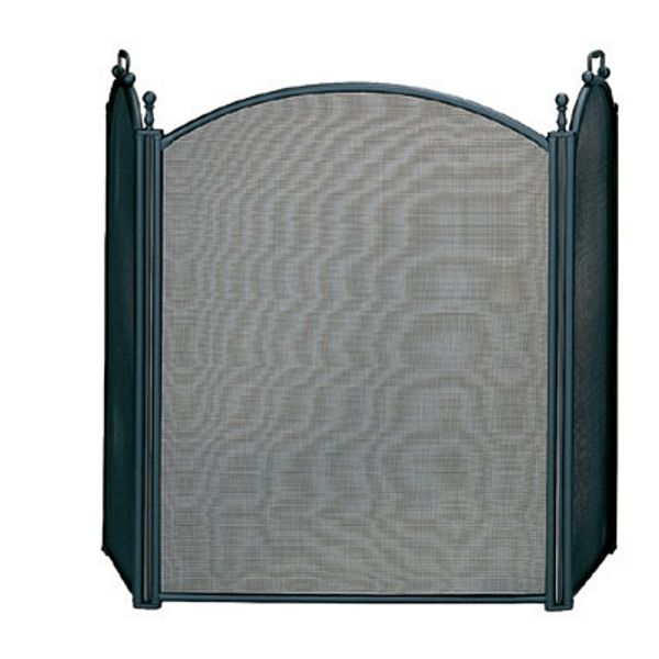 "3 Fold Large Diameter Black Fireplace Screen W/ Woven Mesh - 54"" x 32"" image number 0"