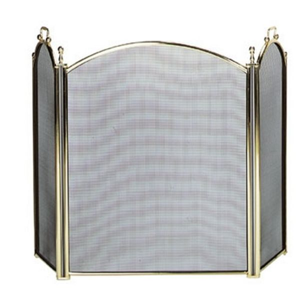 "3 Fold Polished Brass Fireplace Screen W/ Woven Mesh - 54"" x 32"" image number 0"