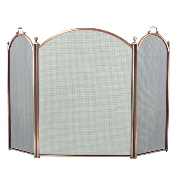 "3-Panel Antique Brass Arched Fireplace Screen - 52"" x 34"" image number 0"