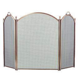 3-Panel Antique Brass Arched Fireplace Screen