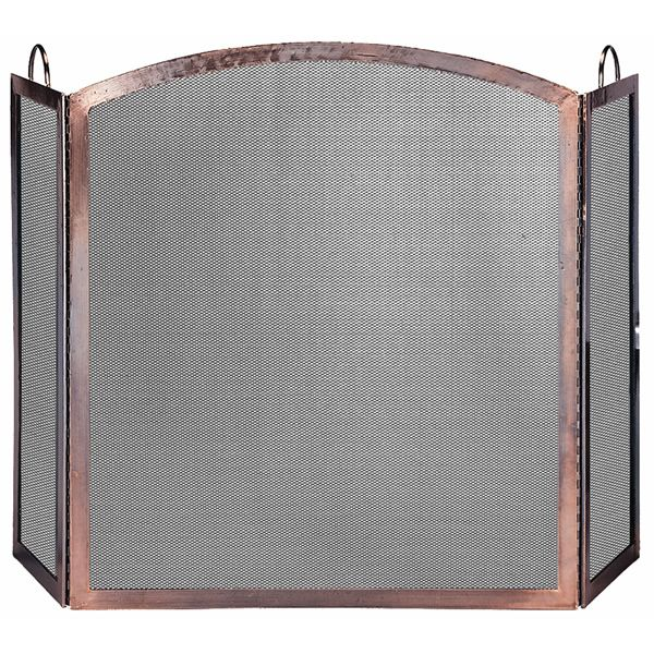 """3 Panel Antique Copper Fireplace Screen-Arched Center Panel - 54"""" x 32"""" image number 0"""