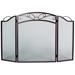 3-Panel Arched Sunrise Bronze Fireplace Screen
