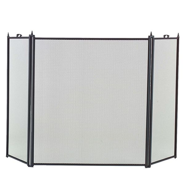 """3-Panel Black Fireplace Screen - 52"""" x 29 1/2"""" image number 0"""