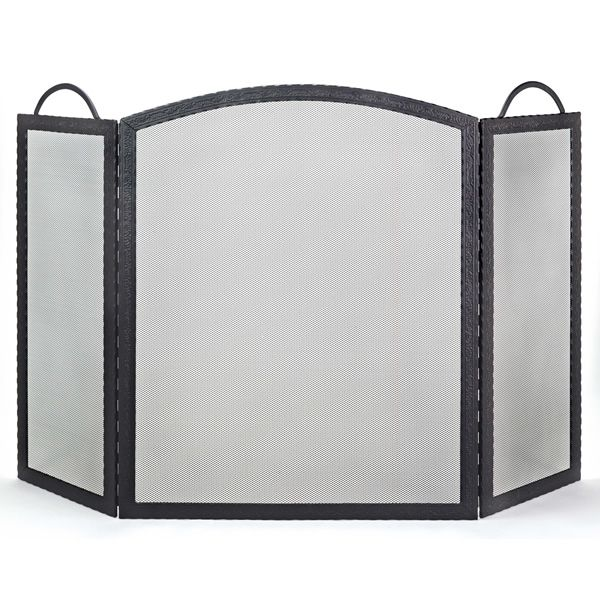 """Three-Fold Black Wrought Iron Embossed Arched Fireplace Screen- 52""""x32 1/2"""" image number 0"""