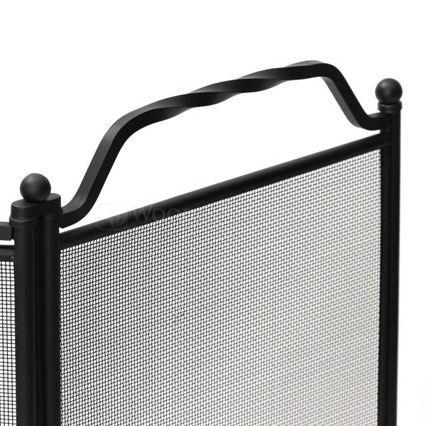 """3 - Panel Black Wrought Iron Fireplace Screen - 51"""" x 31"""" image number 1"""