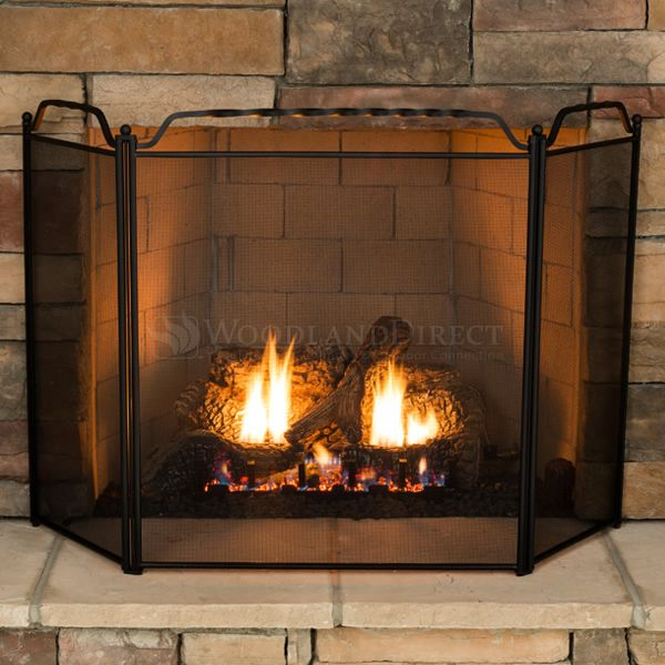 """3 - Panel Black Wrought Iron Fireplace Screen - 51"""" x 31"""" image number 2"""