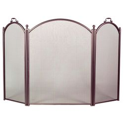 3-Panel Bronze Arched Fireplace Screen