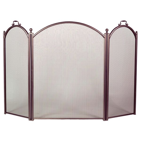 "3-Panel Bronze Arched Fireplace Screen - 52"" x 34"" image number 0"