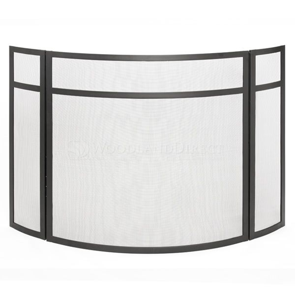 """3 - Panel Black Fireplace Screen - 48"""" x 31"""" image number 0"""