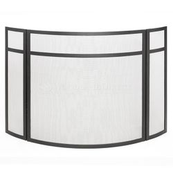 Three Panel Fireplace Screen with Black Finish