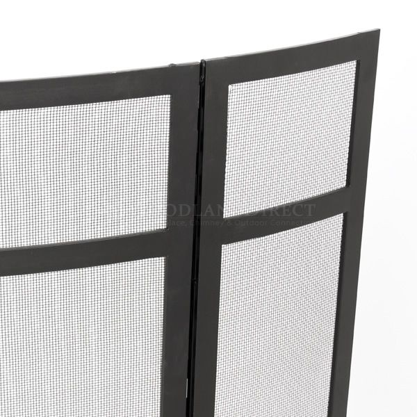 """3 - Panel Black Fireplace Screen - 48"""" x 31"""" image number 1"""
