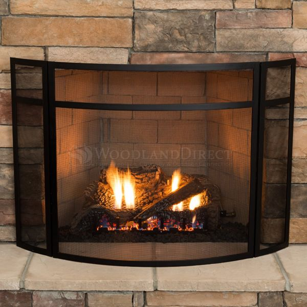 """3 - Panel Black Fireplace Screen - 48"""" x 31"""" image number 2"""