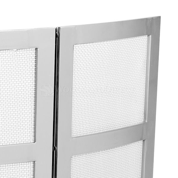 """3 - Panel Brushed Steel Fireplace Screen -  48"""" x 31"""" image number 1"""