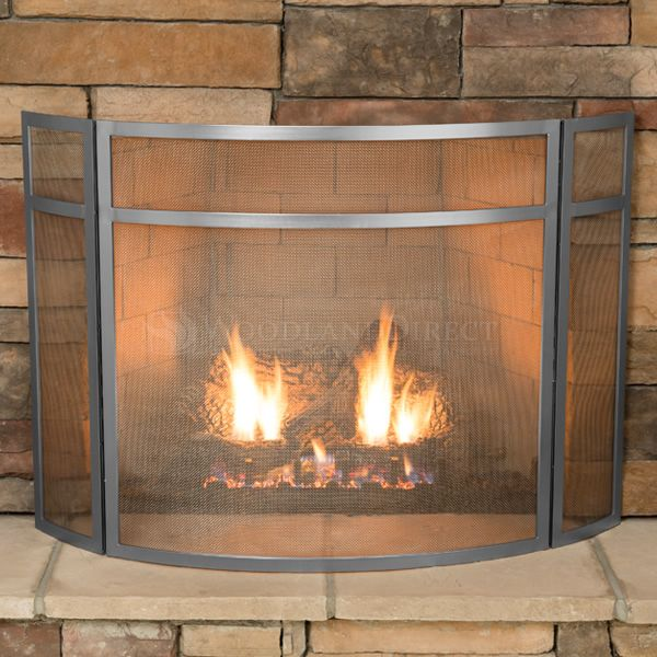 """3 - Panel Brushed Steel Fireplace Screen -  48"""" x 31"""" image number 2"""