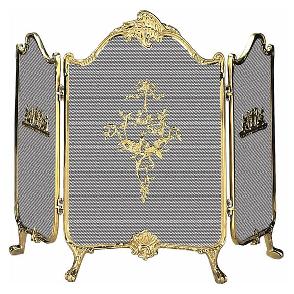 """3 Fold Ornate Fully Cast Solid Brass Fireplace Screen - 41"""" x 31"""" image number 0"""