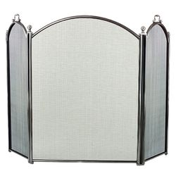 3-Panel Pewter Arched Fireplace Screen - Small
