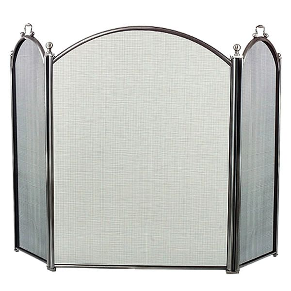 """3-Panel Pewter Arched Fireplace Screen - 52"""" x 29"""" image number 0"""