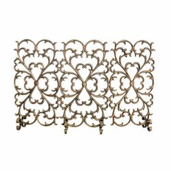 3 Panel Scroll Cast Iron Fireplace Screen