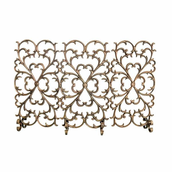 3 Panel Scroll Cast Iron Fireplace Screen image number 0