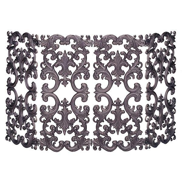 "4 Fold Bronze Cast Aluminum Fireplace Screen - 54"" x 30"" image number 0"