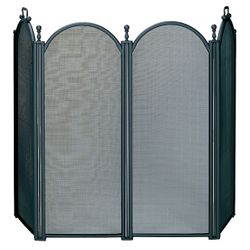 4 Fold Large Diameter Black Fireplace Screen W/ Woven Mesh