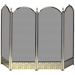 4 Fold Polished Brass Fireplace Screen - Decorative Filigree