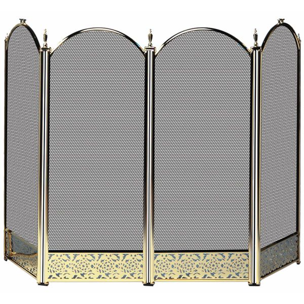 "4 Fold Polished Brass Fireplace Screen and Decorative Filigree - 52"" x 32"" image number 0"