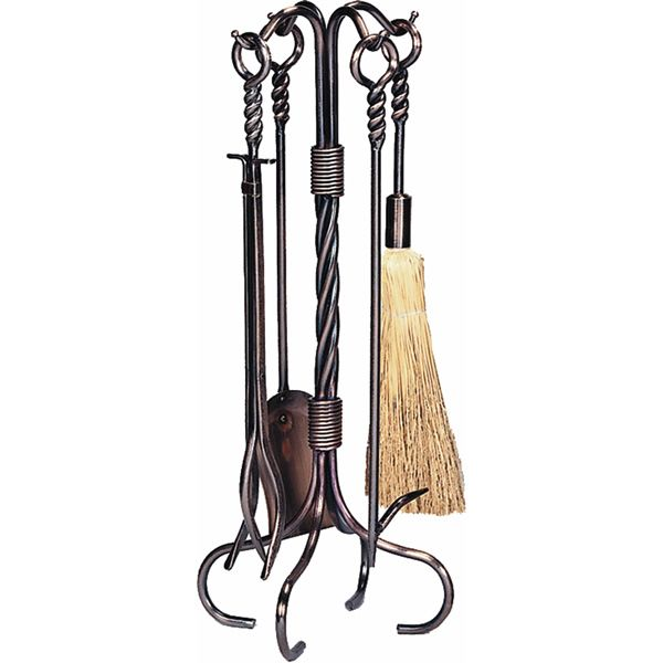 Wrought Iron Fireplace Tool Set With Ring/Swirl Handles - Antique Copper image number 0