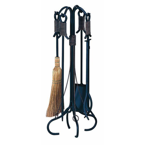 Wrought Iron Fireplace Tool Set With Copper Rope - Black image number 0